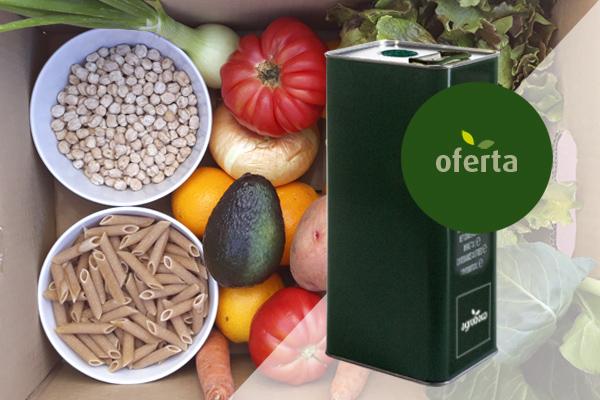 Oferta aceite oliva eco con frutas y verduras