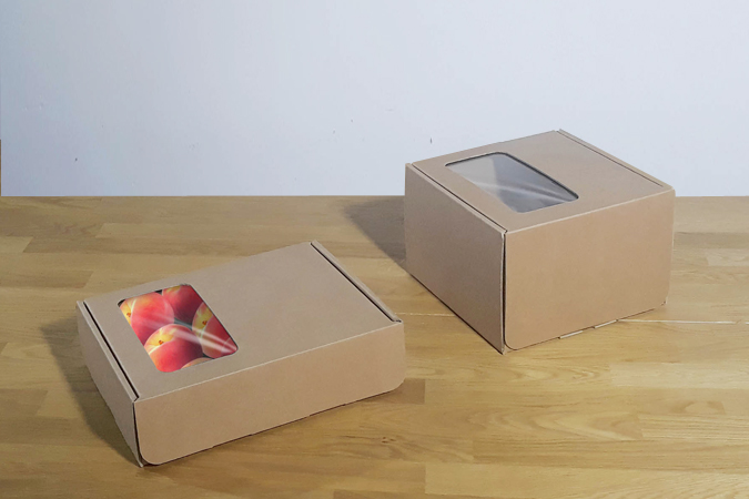 Cajas de cartón con ventana compostable transparente y automontables