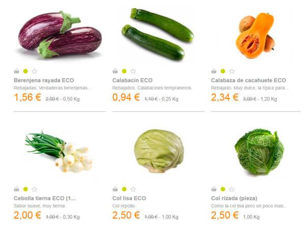 Precios medios para comprar  frutas y verduras online
