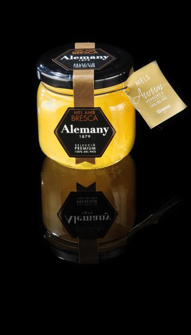 Miel con panal de abejas